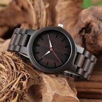 Fashion Black Full Wood Watches Men's Ebony Wooden Band Clock Man Modern Quartz Wristwatches Men Relogio Masculino Top Gifts
