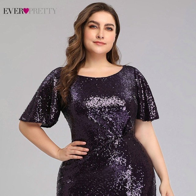 Plus Size Dark Purple Mermaid Evening Dresses Long Ever Pretty EP00928DP O-Neck Sequined Elegant Formal Dresses Robe De Soiree 4