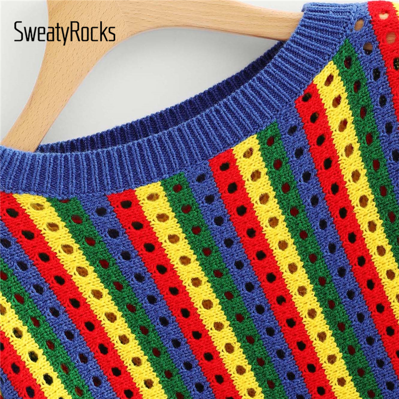 9bd34930f5 SweatyRocks Wide Sleeve Eyelet Rainbow Striped Sweater Women Long Sleeve  Knitted Jumper 2018 Womens Sweaters And Pullovers-in Pullovers from Women s  ...
