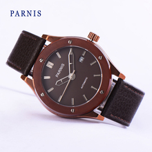 Fashion Watch Men Parnis 41mm Brown Dial Silver Markers Japanese Quartz Movement Men's Wristwatch Brown Band Bracelet Clasp