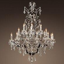 Vintage cristal lustre éclairage rustique bougie lustres lumière lustres de cristal pour salon salle à manger maison hôtel décor