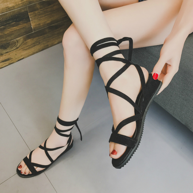 7df19dbadb2 Mazefeng 2018 New Women Shoes Casual Female Gladiator Shoes Solid  Cross-Tied Sandals Women Summer