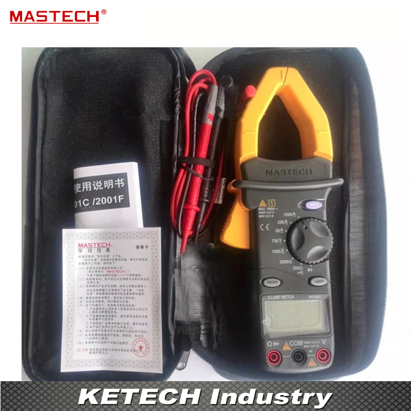 Digital AC Clamp Meters 1000A AC/DC Voltmeter Ammeter Ohmmeter Insulation Tester W/LCD Backlight Megohmmeter MASTECH MS2001 mastech ms2008a auto range digital ac clamp meter ammeter voltmeter ohmmeter with lcd backlight