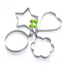 4 Pattern Stainless Steel Fried Egg Shaper Pancake Ring Mould Mold Kitchen Cooking Tools Pentagon/ Flower/ Heart/ Round