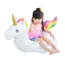 2017 Hot Unicorn Baby Swimming Ring Seat Uppblåsbara Unicorn Pool Float Baby Sommar Vatten Fun Pool Toy Barn Swimming Float