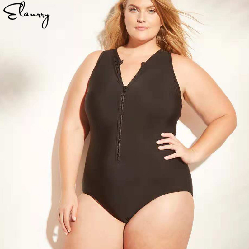 5e70934135 Big Plus Size Swimwear For Women Sexy One Piece Sport Swimsuit 2019  Slimming Female Solid Retro