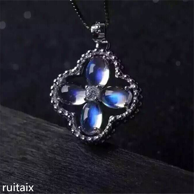 все цены на KJJEAXCMY boutique jewels 925 Pure silver Mosaic moonstone four-leaf clover with pendant and necklace with natural gemstone lady