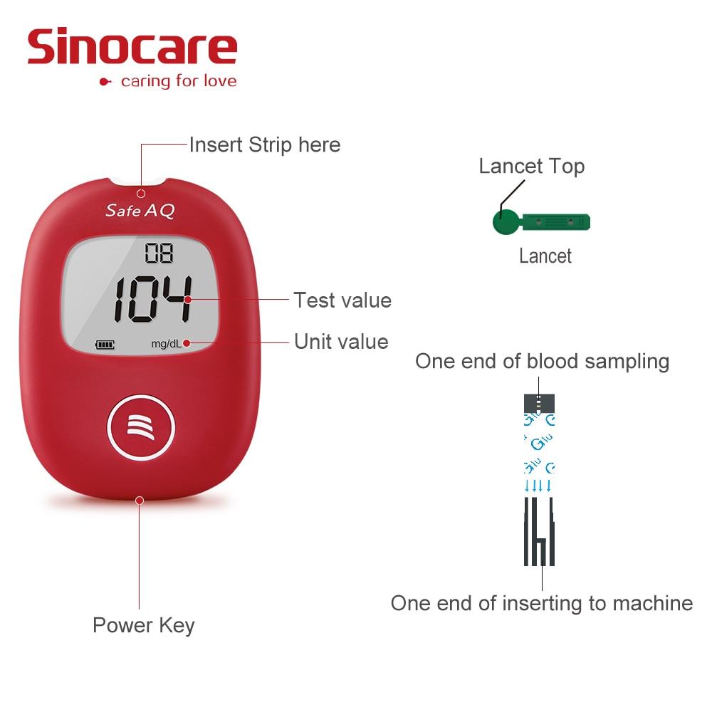 Sinocare mg/dL Blood Glucose Meter Glm Diabetes Test Kit Glucometer with 50 Test Strips 50 Needles Lancets Blood Sugar Detection
