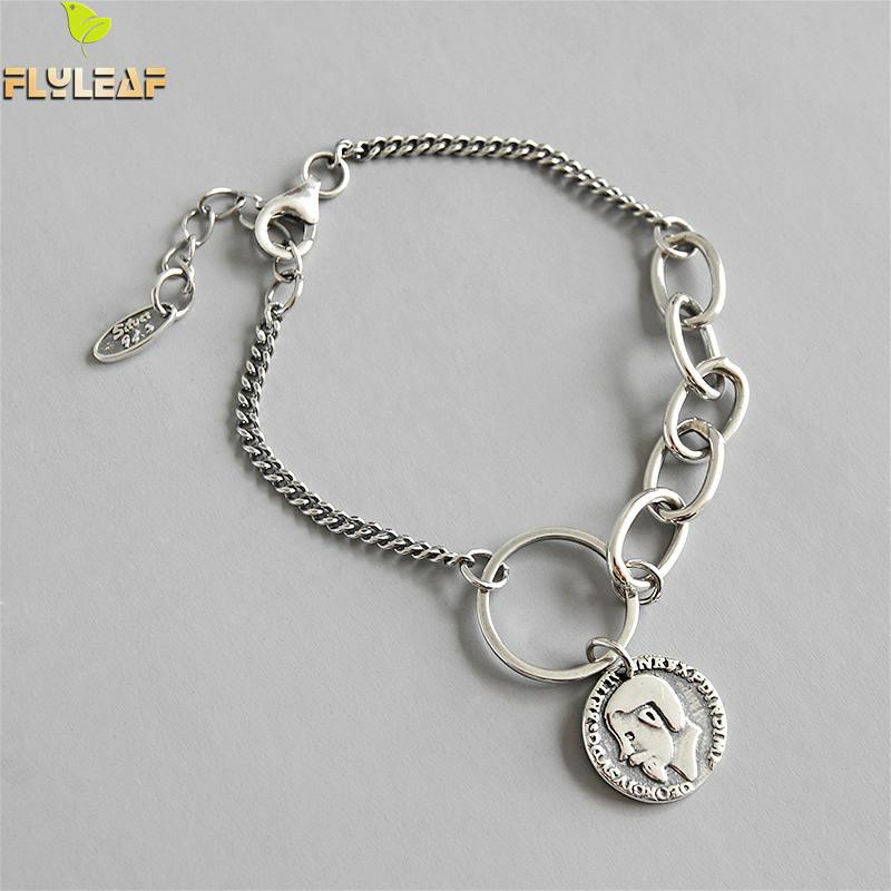 Flyleaf Round Portrait Coin Chain 100% 925 Sterling Silver Bracelets For Women Fashion Fine Jewelry Bracelets & Bangles Vintage
