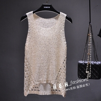 Cakucool Women Gold Lurex knit Tank Camis top Sexy Hollow out Camisole Holes Slim Bling Spaghetti Basic Top wear Summer Tops