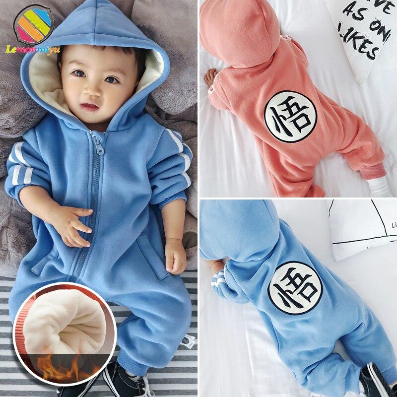 Lemonmiyu Toddler Children Overalls For Newborn Full Sleeve Hooded Plus Velvet Winter Jumpsuits Warm Letter Thicken Kids Pajamas