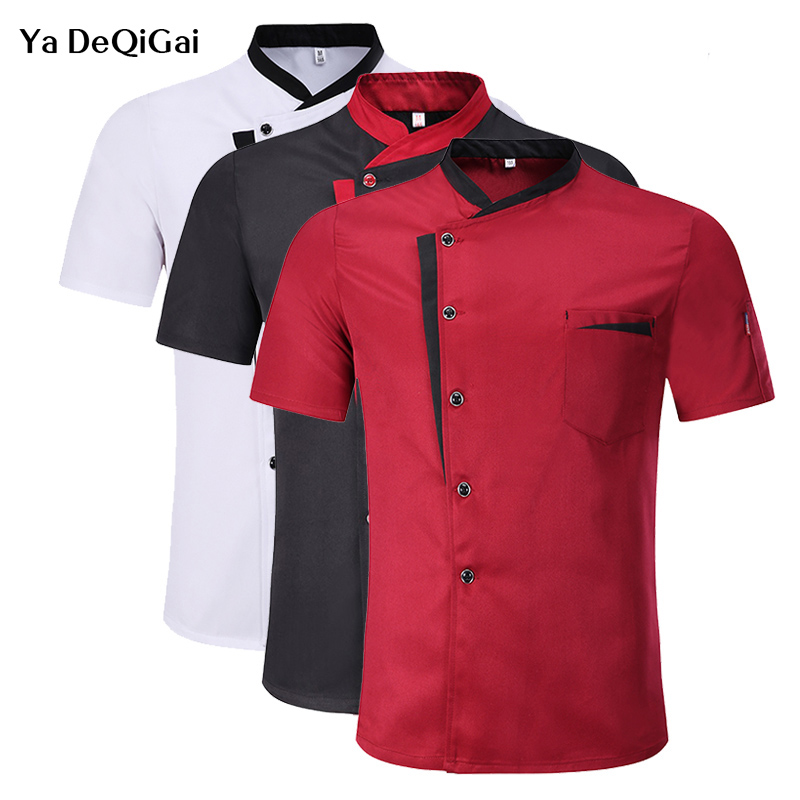 2019 Unisex Restaurant Kitchen Chef Uniform Shirt Breathable Short Sleeves Chef Jacket+cap+apron Works Clothes For Men Wholesale
