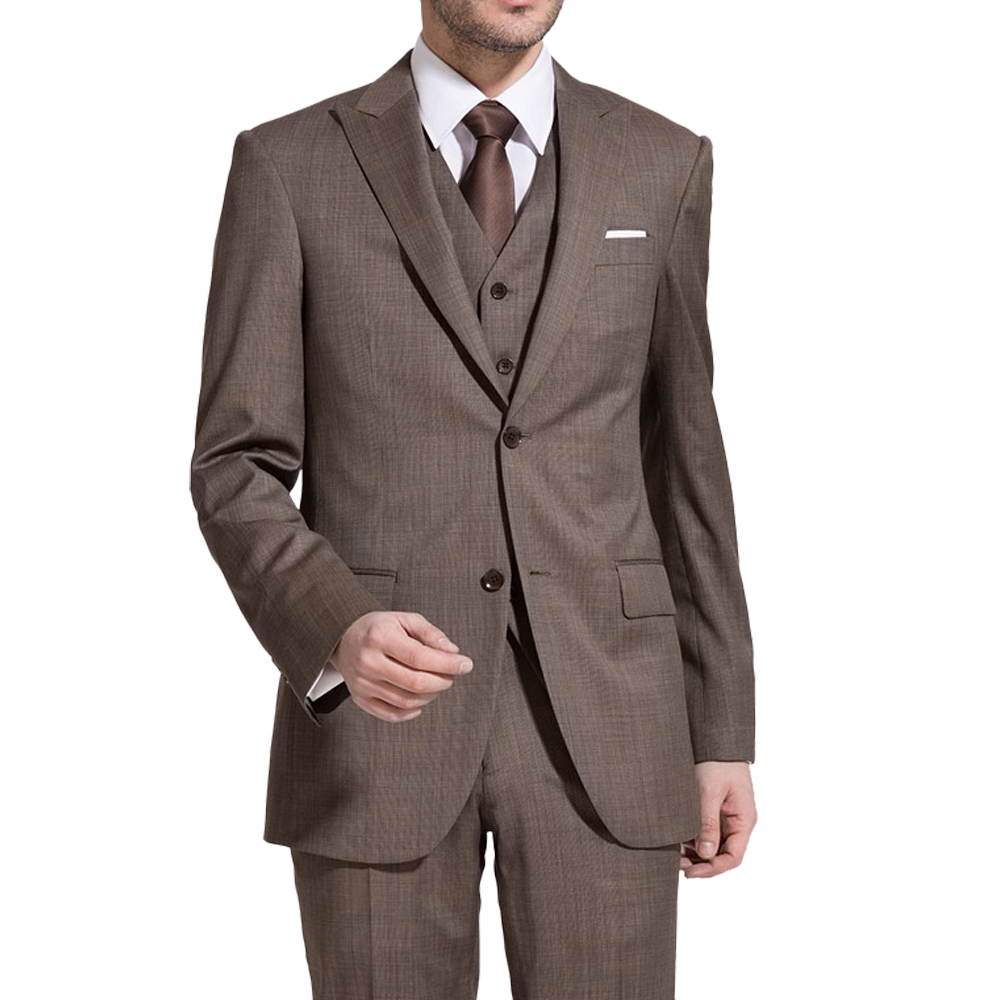 Men's 3 Piece 2 Button Closure Collar Skinny Coffee Brown Suits For Terno Palace Wedding Suits With Modern Designed Men Suits