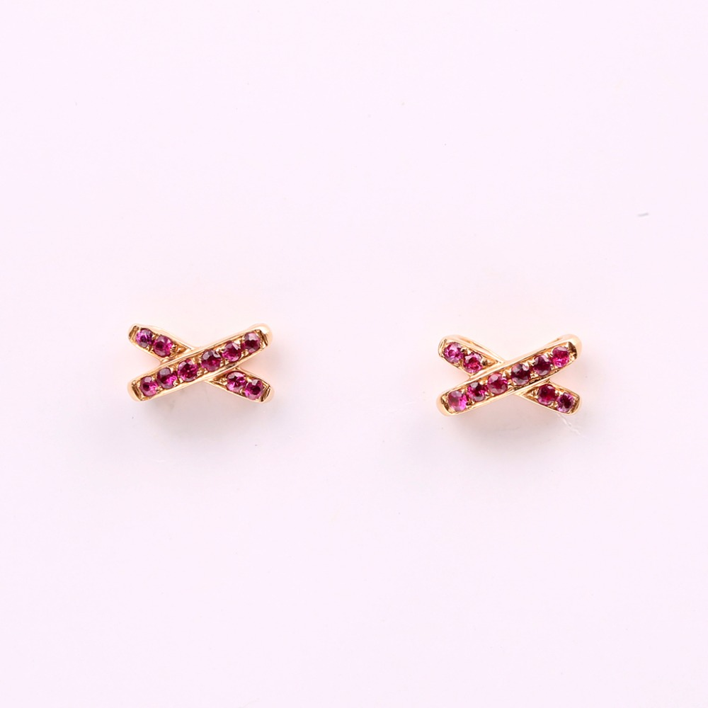 Robira Fashion Natural Ruby Stud Earrings For Women Wedding Party Bridal  Accessories 18k Rose Gold Color