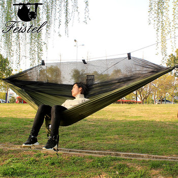 Ultralight Parachute Hammock Hunting Mosquito Net Hamac Travel Double Person Hamak for Camping Outdoor Furniture Hammock ultralight outdoor camping hunting mosquito net parachute hammock 2 person flyknit hammock garden hammock hanging bed
