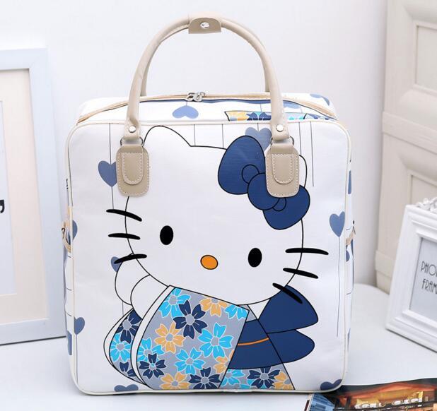 Women Folding Travel Bags 2018 Fashion Pu Large Capacity Waterproof Print Luggage Duffle Bag Casual Dual-use Organizer Foldable