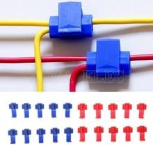 Авто 10 шт. 2 Pin Т-образный кабель Соединители Клеммы обжимной скотч замок быстрого сращивания Электрический автомобильный аудио набор инструмент