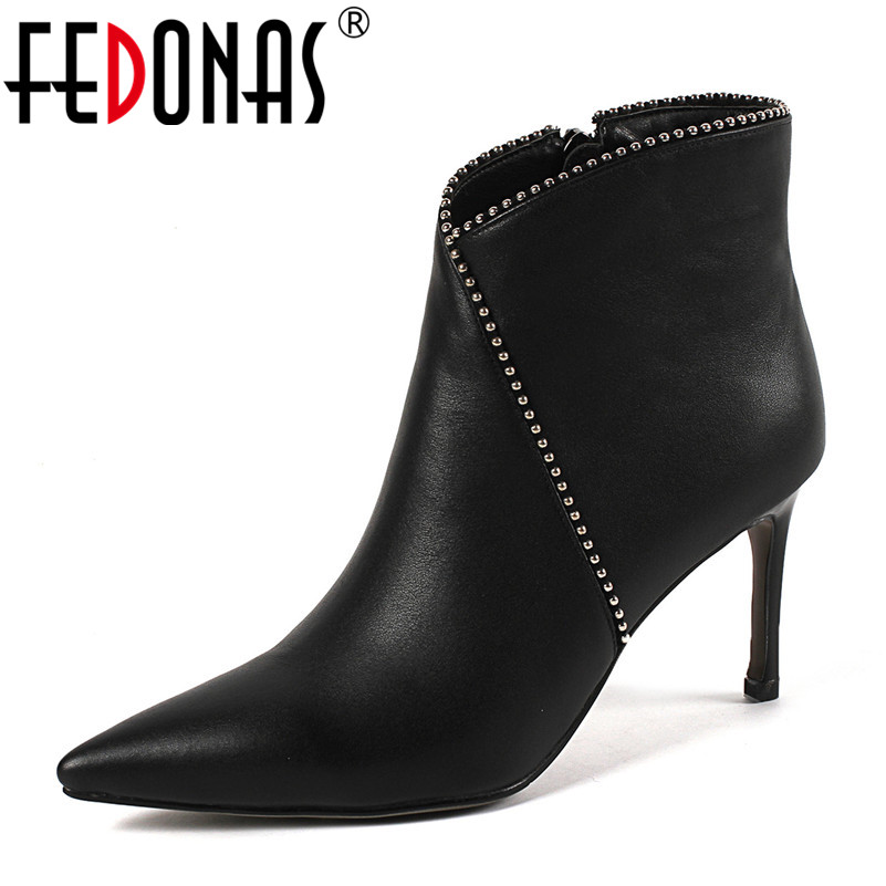 FEDONAS Basic Pumps Women High Heels Rivets Spring Autumn Pointed Toe Wedding Party Shoes Woman Elegant Office Pumps Ankle Boots все цены