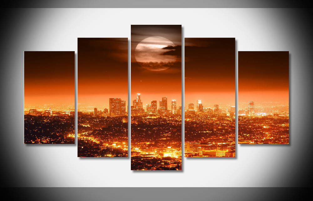 Art print POSTER CANVAS Los Angeles Skyline at Night