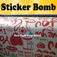 I Love You Sticker Bomb Vinyl Sheet Sticker Bombing Sheet Roll Bubble Free Auto Graphics Size:1.50*30m/Roll