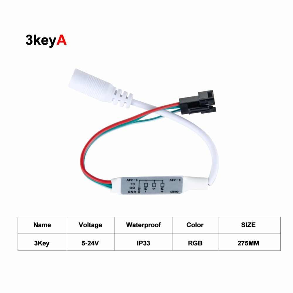 Mando a distancia 5-24V, 3 teclas, 17 teclas, RF, para tira de LED 2812 2811 1903, 6812, cambio de color RGB, controlador remoto de tira LED
