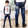 Children Jeans Boys Letter Jeans Pants 2017 Spring Light Wash Boys Jeans for Boy Regular Elastic Waist Kid Children's Jeans P254