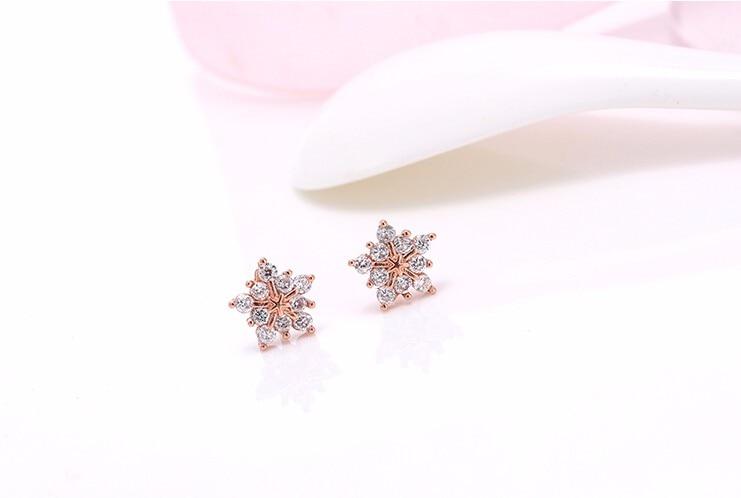 Stud Earring New Hot Sell Trendy Super Shiny Zircon Ice Flower 925 Sterling Silver Earrings for Women Wholesale Jewelry 3