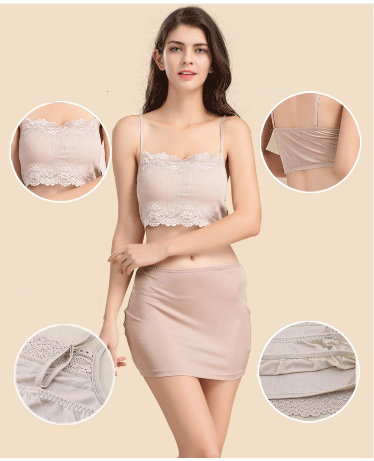 100% Real Silk Women's Tube Tops Femme Shoulder Sleeve Women Sexy Lace Wrap Chest Female Solid Wild Bottoming Woman 2