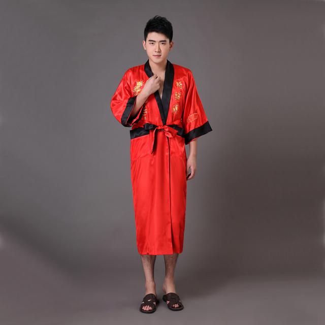 Side chino hombres de satén de seda Robe Reversible dragón bordado ropa de dormir camisón Kimono vestido sml XL XXL XXXL MR013