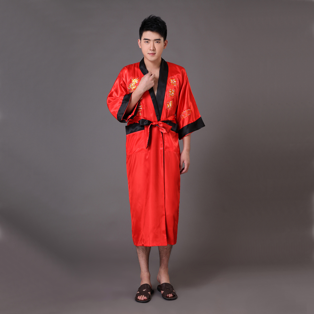 ᗑTwo Side Chinese Men\'s Silk Satin Robe Reversible Embroidery ...