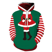 Women/Men Sport Sweatshirts Hoodies Christmas Stripe 3D Print Sportwear Autumn Winter Tops loose Running Cycling Hooded Sweaters