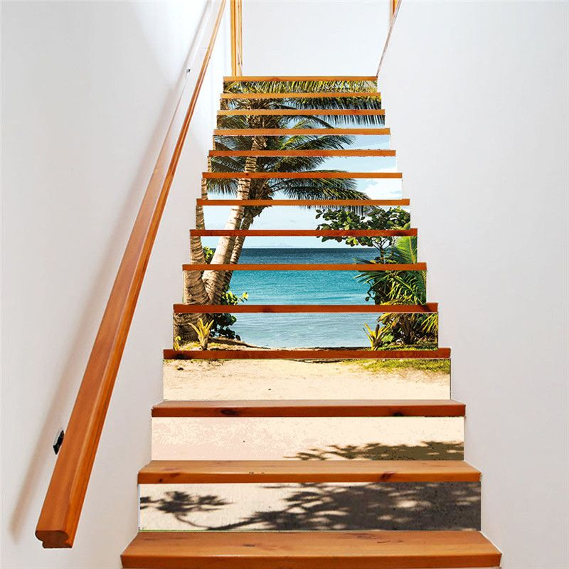 ZUCZUG 13pcs Set Stairway Decor Stickers Removable Stair Creative Decoration Self Adhesive Floor Wall Mural Home