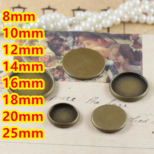 8mm,10mm,12mm,14mm,16mm,18mm,20mm,25mm~Antique Bronze Blank Pendant Trays Bases Cameo Cabochon Settings for Glass or Stickers