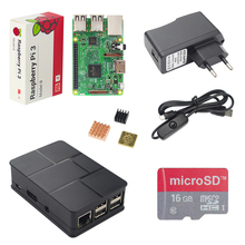 REINO UNIDO Raspberry Pi 3 Kit + 16G SD Card + Caja de ABS + 2.5A Interruptor Power Adapter + USB Cable + Aluminio Del Disipador de Calor de Cobre para RPI 3 Pi3