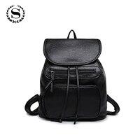 2016 Leather Women Backpack Black White Female Casual Travel Rucksack Student Backpacks Leather Shoulder Bag
