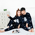 Pyjama Soie Couple Pyjamas Man 2016 New Autumn And Winter Couple Pajama Female Models Thick Double-sided Flannel Tracksuit
