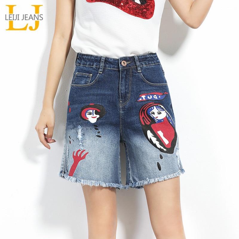 2019 LEIJIJEANS New Arrival Women   Jeans   Mid Waist Fashion Painted Design Gradient Color Summer Plus Size Loose Straight Shorts
