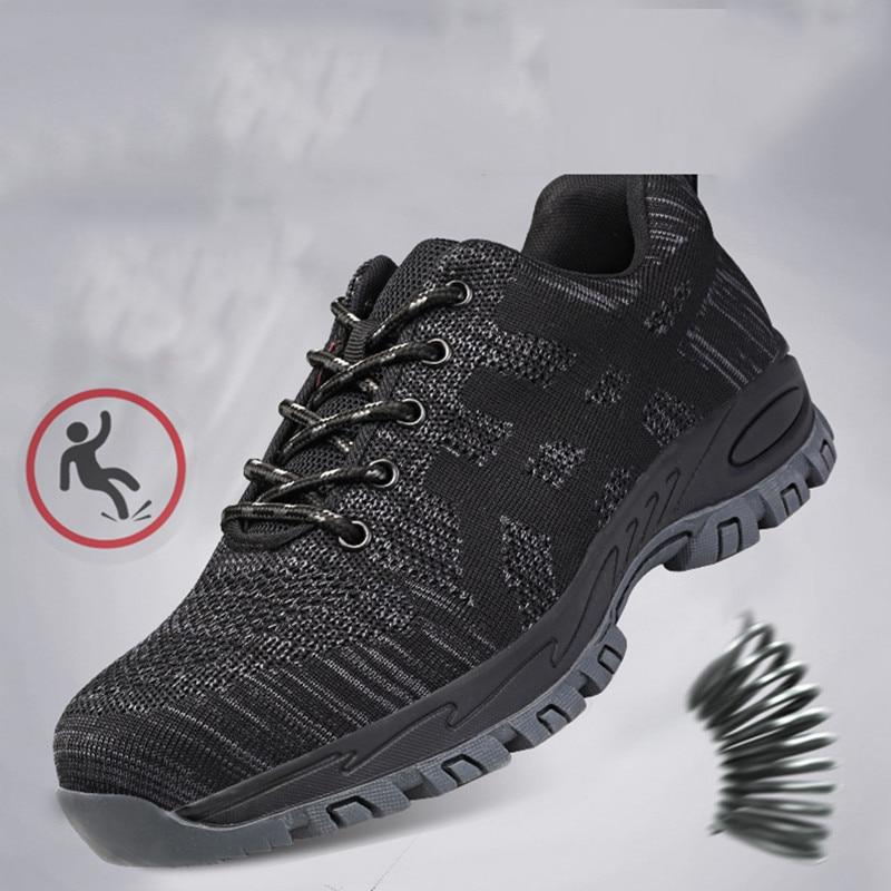 Высококачественная защитная обувь со стальным носком; Мужская Рабочая обувь; унисекс; дышащая рабочая обувь из сетчатого материала; большие размеры 37-46; резиновая обувь - Цвет: black