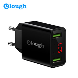 Elough USB Charger for iPhone Samsung Xiaomi LED Display 5V 2.1A Dual USB Port Charger Mobile Phone Charging USB Adapter Turbo