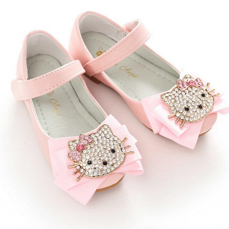 Fashion Cute Cartoon Cat & Rabbit Children Shoes Princess Girls Princess Kids Soft Sole Leather Flats Girl Shoes