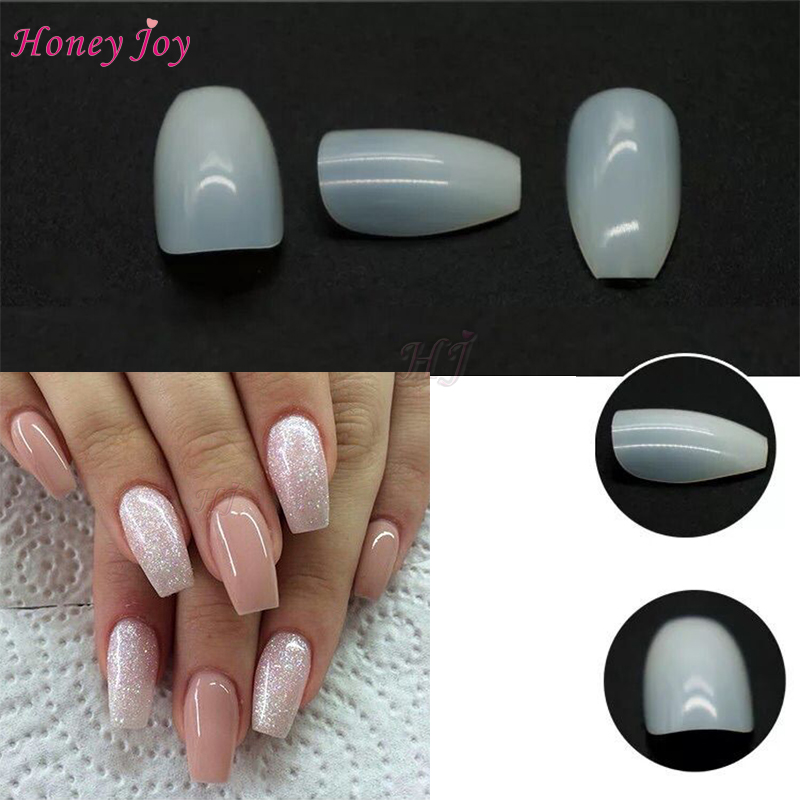 500pcs/bag Natural Coffin Nails Ballerina False Nail Tips 10 Sizes ...