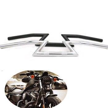 "Steel 1"" Drag Handlebar Motorcycle Black 25mm/1 inch Handle Z-Bars For Harley Sportster Softail Fat Boy Dyna Street Fat Bob FXD"