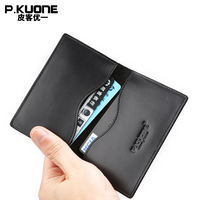 P KUONE New Genuine Leather Credit Card Holder Bussiness Men Card Bag Wallet Passport Cover Travel