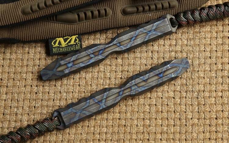 DEUX SOLEIL D'origine Crowbar titanium anodique oxydation Base Ronde Shank Plat Tête Pointu Crowbar Pry Bar Pry camping chasse EDC