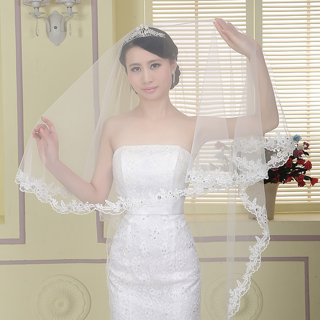 Dresstells Wedding Veil Accessories White Cheap Comb Beaded Veils Simple New Arrival Ivory