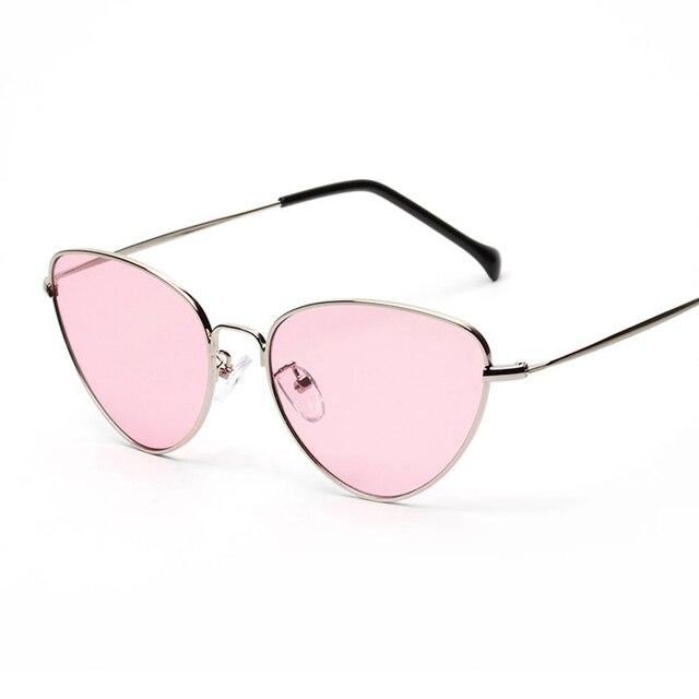 Retro Cat Eye Sunglasses Women Yellow Red Lens Sun glasses Fashion Light Weight Sunglass for women Vintage Metal Eyewear 1