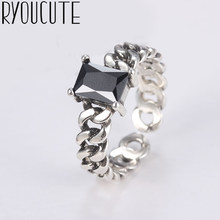 Bohemian Vintage 925 Sterling Silver Black Zirconia Rings for Women Fashion Statement Jewelry Adjustable Finger Ring Girls Gifts(China)