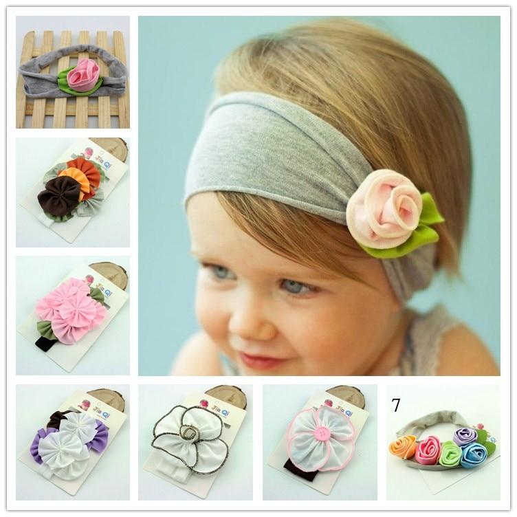 8 unids/lote Popular niña Kid flor cintas para el pelo arco elástico de algodón