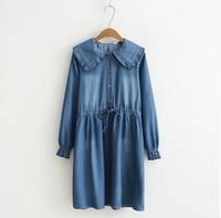 Harajuku Casual Hippie Boho Dames Jurken Vintage Mori Girl Sweet Cute Lolita Ruffle Jeans Blue Denim