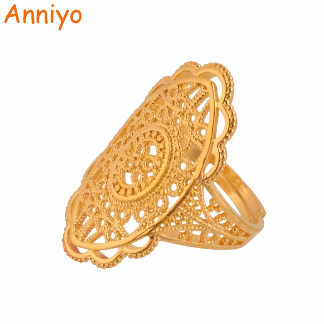 Anniyo Gold Color Ethiopian Wedding Ring Free Size For Women Middle East Dubai Bride Jewelry